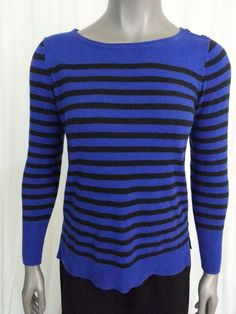a.n.a knit top women's size Petite M blue black striped casual wear to work #ana #KnitTop #Casual