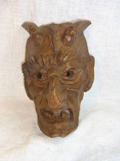 Vintage German Wood Carved Devil Wall Mask #BG