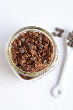 Wholesome Skinny Chocolate Granola with chia seeds! A crunchy breakfast or snack to satisfy you when a chocolate craving hits!