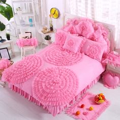 Hot Pink Waterfall Ruffle Design Rosette Pattern Feminine Feel Stylish Cotton Twin, Full, Queen Size Bedding Sets for Teen Girls Bed Sheet Sets, Bed Sheets, Queen Size Bedding, Bedding Sets, Twin Size Bedroom Sets, Bedroom Decorating Tips, Tidy Room, Teen Girl Bedrooms, Beautiful Bedrooms