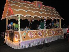 Our Christmas Parade Float - the Gingerbread House. Giant Gingerbread House. Large Candy.
