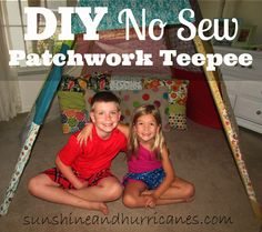 DIY NO SEW PATCHWORK TEEPEE Tutorial : This simple teepee project will bring hours of enjoyment and laughter to your family! No sewing required, easy and fun family project, makes a great place to read, camp out or play!sunshineandhurricanes.com