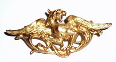 Gold Griffin Brooch, marked Fix