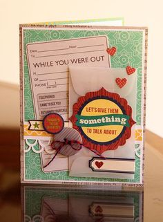 Something to Talk About Card by Lisa VanderVeen using Jillibean Soup's Neopolitan Bean Bisque collection, vellum envelope, and baker's twine (via the Jillibean Soup blog).