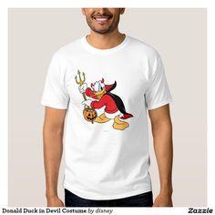 Donald Duck in Devil Costume. Producto disponible en tienda Zazzle. Vestuario, moda. Product available in Zazzle store. Fashion wardrobe. Regalos, Gifts. #camiseta #tshirt