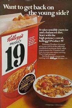 1970 Kellogg's Product 19 Cereal Vintage Ad