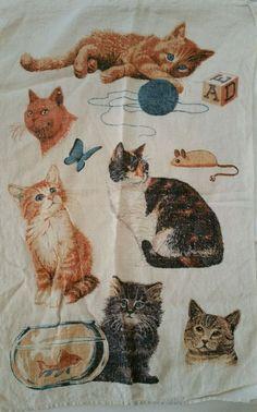CAT LOVERS---VINTAGE Linen KITCHEN TEA TOWEL #KayDeeDesigns