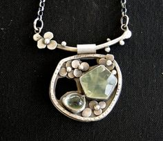 ❤ Gorgeousness by Louise! =D)    Prehnite sterling silver flower and branch by louiseodwyerdesigns, $140.00