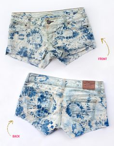 DIY Bleach Shorts A 2 for 1 DIY tutorial! Learn how to create scalloped shorts from an old pair of jeans then learn how to dip dye them in bleach. Diy Shorts, Tie Dye Shorts, Diy Tie Dye Bleach, Diy Pantalones Cortos, Ty Dye, Look Festival, Jeans Claro, Cute Outfits, Summer Outfits