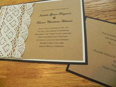 Boho Crocheted Lace Wedding Invitation by WhiteGownInvitations