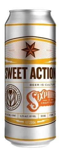 Cerveja Sixpoint Sweet Action, estilo Cream Ale, produzida por Sixpoint Craft Ales, Estados Unidos. 5.2% ABV de álcool.