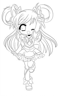 bell and chibi lineart by yuff coloriage kawaii