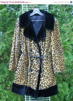 8df8c910aab73 Vintage Leopard Faux Fur Jacket L XL 14 to 18 by MartiniMermaid