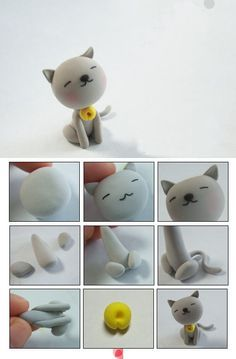 cat polymer clay tutorial by Tammy Doziercat polymer clay tutorial - I could make all our boys!Super cute cat made out of fimo clay Polymer Clay Animals, Fimo Clay, Polymer Clay Projects, Polymer Clay Charms, Polymer Clay Creations, Polymer Clay Art, Clay Cats, Cute Clay, Clay Figurine