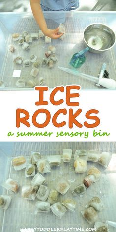 Ice Rocks Sensory Bin – HAPPY TODDLER PLAYTIME Make that rock collection your kids have into a fun sensory experience this summer! Create ice rocks in this simple toddler and preschooler sensory activity. Toddler Fun, Toddler Preschool, Toddler Crafts, Toddler Snacks, Preschool Science, Preschool Alphabet, Alphabet Crafts, Alphabet Letters, Sensory Activities Preschool