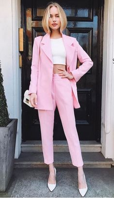 summer outfits women casual fashion ideas street styles, spring outfits women style inspiration, summer style inspiration color combo Source by Pink Outfits, Mode Outfits, Classy Outfits, Office Outfits, Casual Outfits, Pink Pants Outfit, 20s Outfits, Overalls Outfit, Pink Dress Casual