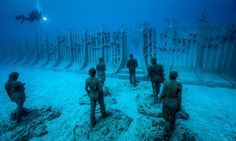 The monumental Museo Atlantico in Lanzarote, Spain, features 300 works spread over 12 installations. The underwater museum will support marine life