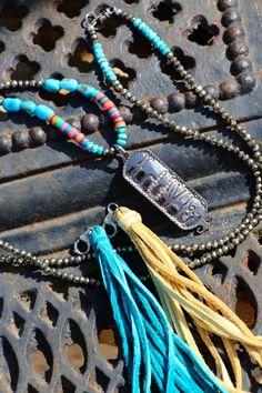 Boho Diamond LOVE Necklace w Leather Tassel by HappyGoLuckyJewels