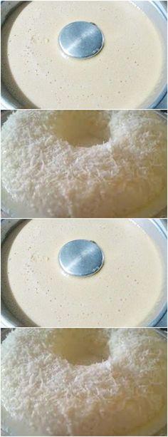 MODO DE PREPARAR:Misture a tapioca com o açúcar e, aos poucos, acrescente o leite quente,#receita#bolo#torta#doce#sobremesa#aniversario#pudim#mousse#pave#Cheesecake#chocolate#confeitaria# Mousse, Cheesecake, Dishes, Chocolate, Cooking, Shredded Coconut, Vanilla, Pudding, Mop Sauce