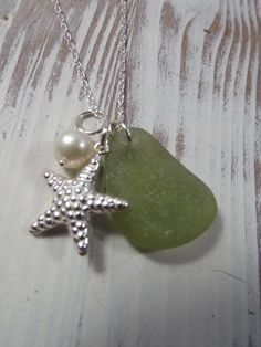 Scottish Seaglass Necklace and Hill Tribe by byNaturesDesign, $45.00