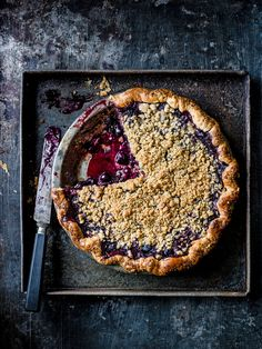 Check out Edd Kimber's black and blue crumble pie, with a blackberry and blueberry filling and a cardamom crumble topping