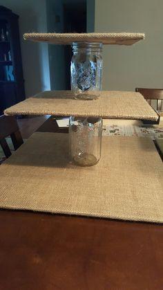 DIY Burlap and Mason Jar Cupcake Stand