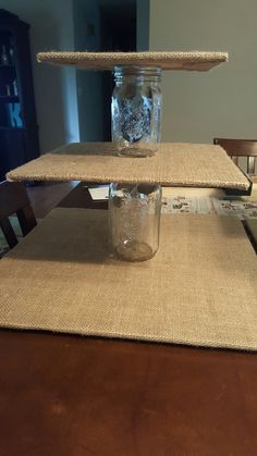 DIY Burlap and Mason Jar Cupcake Stand