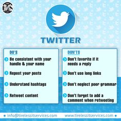 Here is 4 Twitter do's and don't's for business.  #twitter #twittermarketing #branding #business #Growth #hashtags #RETWETT #marketingtips #marketingonline #DigitalTransformation #DigitalMarketing Internet Marketing Company, Online Marketing, Digital Marketing, Wet T, Hashtags, Don't Forget, Branding, Ads, Twitter