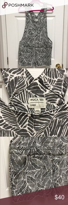 RVCA Overall Cutoffs RVCA denim, black and white palm print cutoff overalls are both spicy and sweet! Looks amazing over bikini! These are unique and only for the bold and beautiful! YOU! Say YES to Spring and Summer! EUC RVCA Shorts Jean Shorts