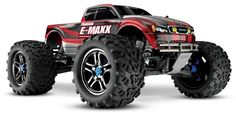 This is the 1/10 scale brushless electric powered  2.4GHz radio controlled ready to run Traxxas E-Maxx Monster Truck. Powered by the Castle Creations Mamba Monster Power System