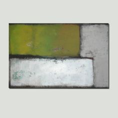 Large Abstract Schilderij Green and Grey van RonaldHunter op Etsy