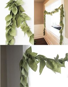 Felt Leaf Garland Like. Maybe use three tones of green felt, throw in a copper color to imitate magnolia leaves. Add leaves to back to make it fuller and more dimensional. Maybe use three tones of green felt, thr Green Garland, Felt Garland, Diy Garland, Pom Pom Garland, Garland Decoration, Felt Banner, Felt Wreath, Christmas Holidays, Christmas Decorations