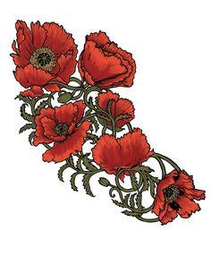 art nouveau poppies - Google Search