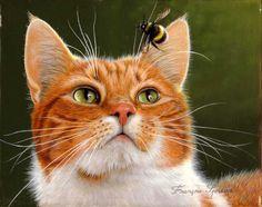 Francois Spreux   Le chat et le bourdon Acrylique sur toile (24 cm x 19 cm)