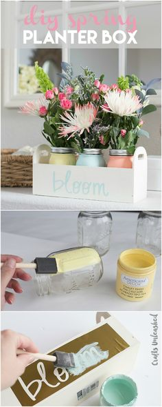 Chalk Painted Mason Jar DIY Planter Box