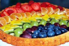 gateau-arc-en-ciel avec des fruits ! C'est bon ça ! et c'est sain !