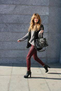 burgundy trousers