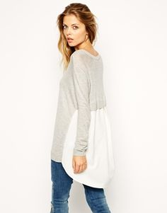 ASOS Jumper With Woven Back #winter2015 #musthave #2015trends