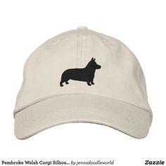 Pembroke Welsh Corgi Silhouette Embroidered Baseball Cap #corgi