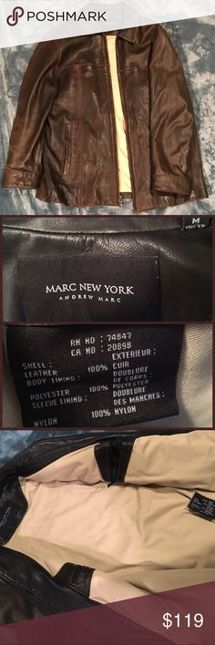Men's M Marc New York Andrew Marc Calfskin Jacket This Men's Medium Brown Andrew Marc Calfskin Leather Jacket is in virtually new condition. Extremely supple Calfskin exterior is beyond plush. This jacket retails for upwards of $600 - it's primo quality throughout. Get it for a fraction of the MSRP here - cheers! Andrew Marc Jackets & Coats
