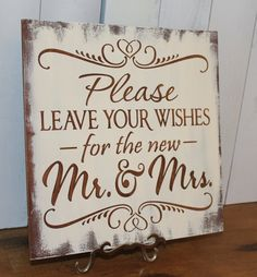Guest Book/Please Leave Your Wishes For the New MR and MRS/Wedding Sign/Photo Prop/U Pick Color/Great Shower Gift/Vineyard/Rustic/black/gold