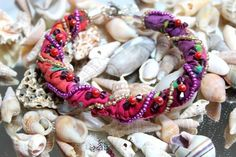 Bohemian Beaded Batik Beach Bracelet Made In America | Wyverndesigns - Jewelry on ArtFire