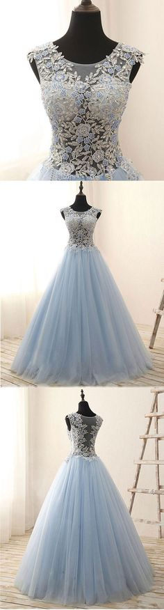 Beautiful Lace Top Blue Tulle Prom Dress, Long Evening Gown for Teens #promdress #promdresses #prom #dress #gowns #prom2018