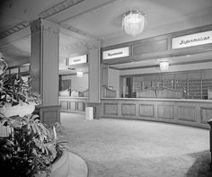 The Ambassador Hotel, Front Desk, (1951), 3400 Wilshire Boulevard, Los Angeles, CA (1921-1989; demolished 2008).  Paul Revere Williams designed the hotel's exterior and interior for its 1949 renovation.
