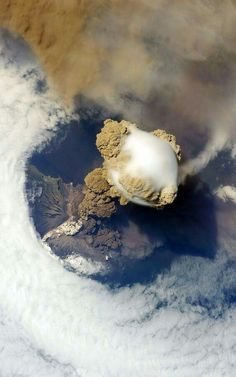Look out above! A 2009 eruption of the Russian volcano Sarychev, sends a plume towering into the sky, as seen from the International Space Station. Photo by NASA