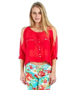 RED BUTTON UP OPEN SHOULDER CHIFFON TOP