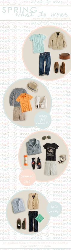 Spring What to Wear Guide for Boys. I love these ideas for my 6 yr old!
