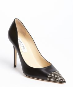 pretty nice d7f1b 96168 Jimmy Choo black leather metal stud cap toe pumps
