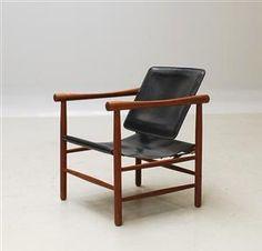 Kai Lyngfeldt Larsen; #506 Teak and Leather Easy Chair for Søborg Møbelfabrik, 1959.