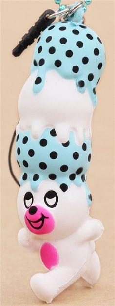 white calaple bear blue black dot ice cream squishy cellphone charm 5